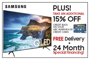 Samsung QLED Take an additional 15% OFF credit back on your ABC Warehouse Credit card!