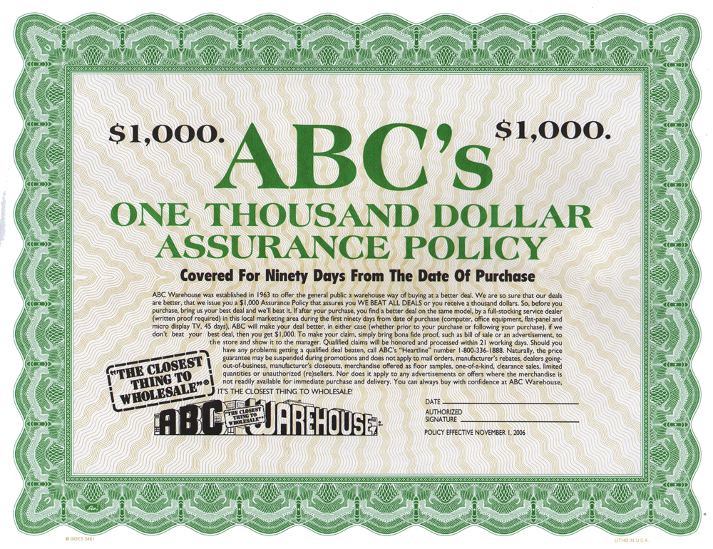 Picture of 1000 Dollar Policy Certificate